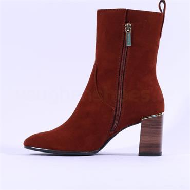 Tamaris Solo Block Heel Hi Ankle Boot - Brandy