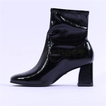 Tamaris Teona Block Heel Ankle Boot - Black Patent