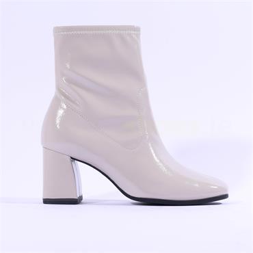 Tamaris Teona Block Heel Ankle Boot - Grey Patent