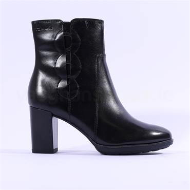 Tamaris Eleni High Block Heel Ankle Boot - Black Leather