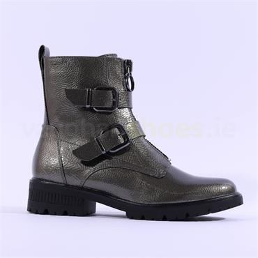 Tamaris Zeya Strap Buckle Biker Boot - Pewter Patent