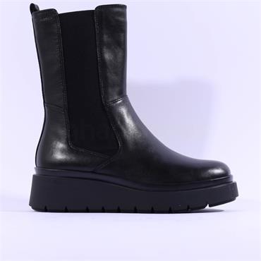 Tamaris Annrike Wedge Long Gusset Boot - Black Leather