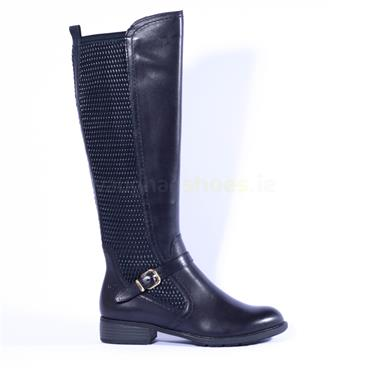 Tamaris Knee High Boot Buckle Detail - Navy Leather