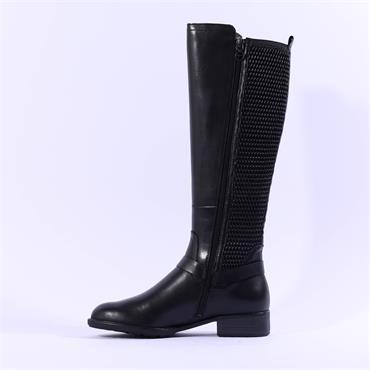 Tamaris Indah Slim Knee High Buckle Boot - Black Leather
