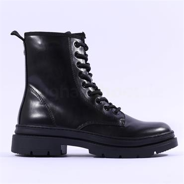 Tamaris Tamira Laced Military Boot - Black