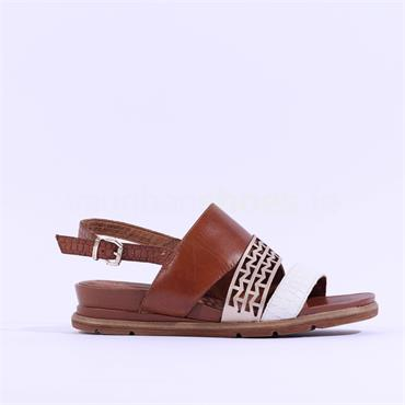 Tamaris Mychelle Low Slingback Sandal - Tan Combi Lea