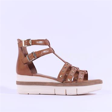 Tamaris Enisa Roman Platform Sandal - Tan Leather