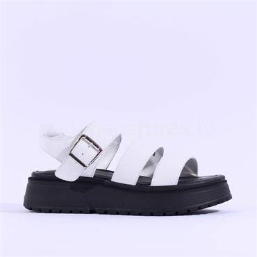 Tamaris Grim Platform Leather Sandal - White Black
