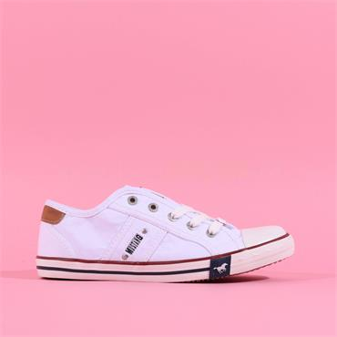 Mustang Laced Toe Cap Canvas Shoe - White