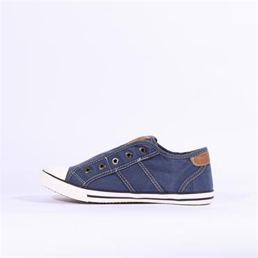 Mustang Slip On Canvas Shoe - Denim