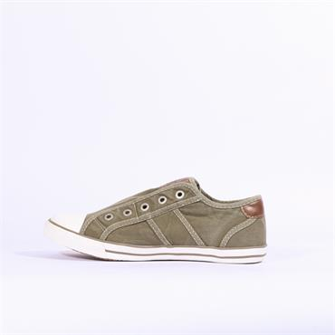 Mustang Slip On Canvas Shoe - Khaki