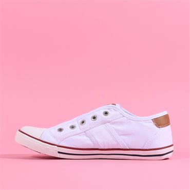 Mustang Slip On Canvas Shoe - White
