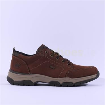 Rieker Bendigo Laced Tex Shoe - Brown Nubuck