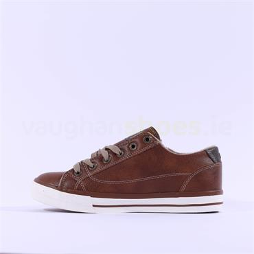 Mustang Laced Casual Trainer Side Zip - Cognac