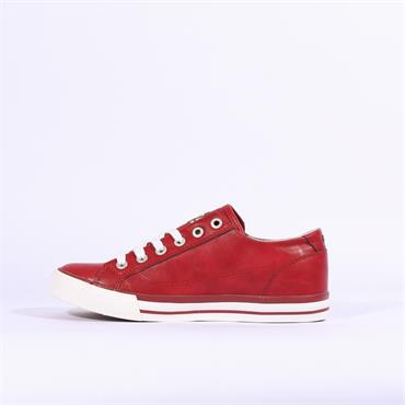 Mustang Laced Casual Trainer Side Zip - Red