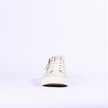 Mustang Laced Casual Trainer Side Zip - White