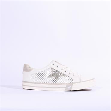 Mustang Laced Trainer Sparkle Star - White