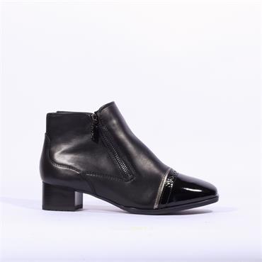 Ara Graz Twin Zip Toe Cap Boot - Black Leather