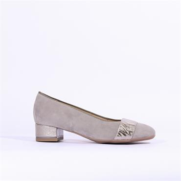 Ara Graz Court Shoe - Grey Suede Combi