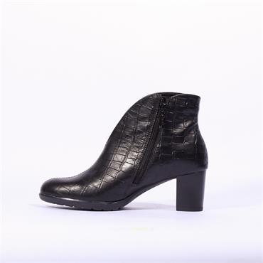 Ara Orly V Cut Block Heel Boot - Black Croc