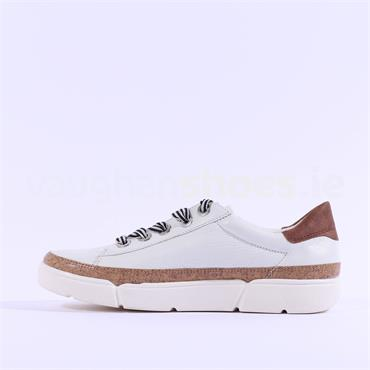 Ara Rom Cork Detail Ribbon Lace Trainer - White Leather