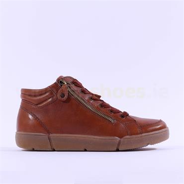 Ara Rom Hi Top Side Zip Laced Trainer - Cognac Leather