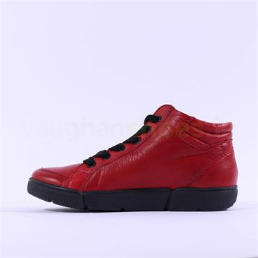 Ara Rom Hi Top Side Zip Laced Trainer - Red Leather