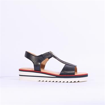 Ara Durban Front Zip Platform Sandal - Navy Leather