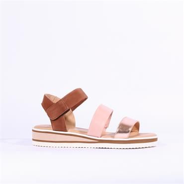 Ara Durban Strappy Sandal - Tan Pink Metallic