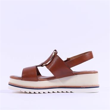 Ara Durban Platform Ring Detail Sandal - Cognac Leather