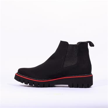 Ara Jackson Platform Gusset Boot - Black Suede