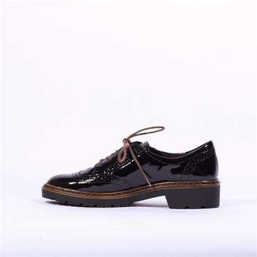 Ara Richmond Laced Brogue Shoe - Black Patent