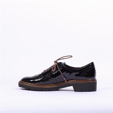 Ara Richmond Laced Brogue Shoe - Black Patent