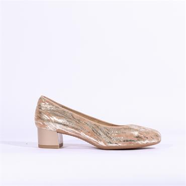 Ara Icenza Court Shoe Print Detail - Taupe Gold