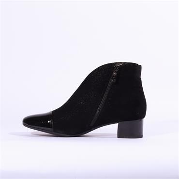 Ara Vincenza Toe Cap Low Block Heel Boot - Black Glitter