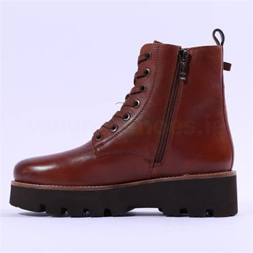 Ara Copenhagen Platform Lace Zip Boot - Cognac Leather