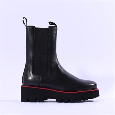 Ara Kopenhagen Cleated Long Gusset Boot - Black Leather