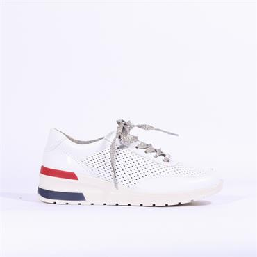 Ara Perforated Laced Trainer Neapel - White Combi