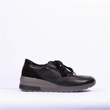 Ara Neapel Laced Trainer with Twin Zip - Black Leather