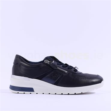 Ara Neapel Laced Wedge Trainer - Navy