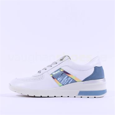 Ara Neapel Laced Wedge Trainer - White Blue