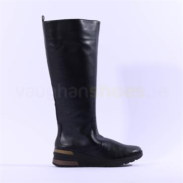 Ara Neapel Knee High Wedge Boot - Black Leather