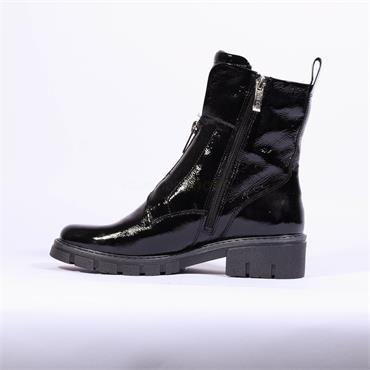 Ara Dover Zip Front Boot - Black Pat Leather