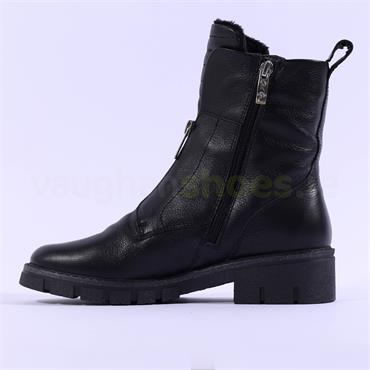Ara Dover Zip Front Boot - Black Leather