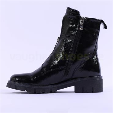 Ara Dover Zip Front Boot - Black Patent