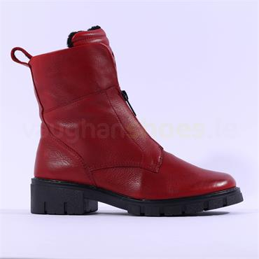 Ara Dover Zip Front Boot - Red Leather