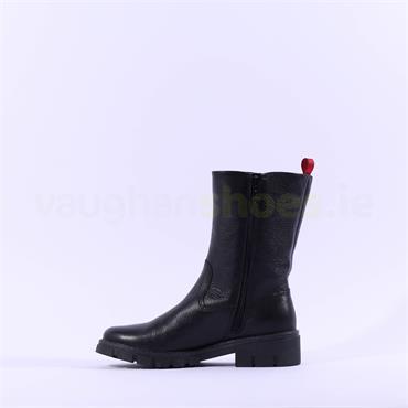 Ara Dover Mid Calf Side Zip Biker Boot - Black Red