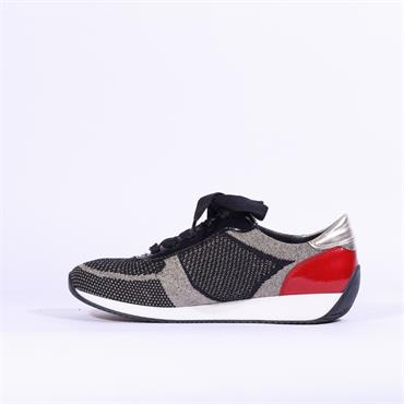 Ara Knitted Ribbon Lace Trainer Lissabon - Navy Silver Combi
