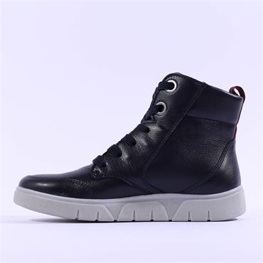 Ara Rom Diagonal Zip Lace Bootie - Navy Leather