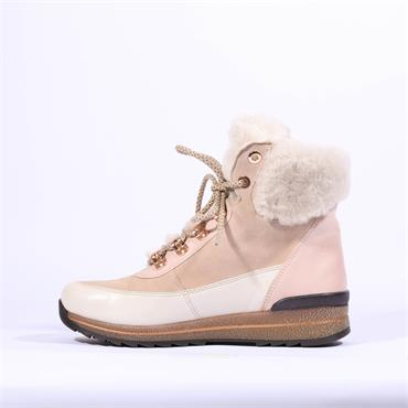 Ara Osaka Fur Lined Laced Boot - Beige White Pink
